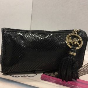 Used Micheal Kors Black Leather Cosmetic Bag Pouch